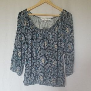 MAX STUDIO BOHO PEASANT FLORAL TOP SIZE SMALL
